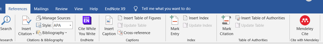 Mendeley Cite add-in on the Reference tab in Word.