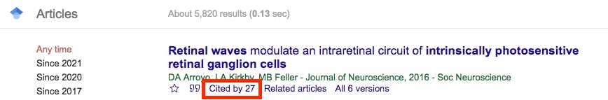 Google Scholar cited by link