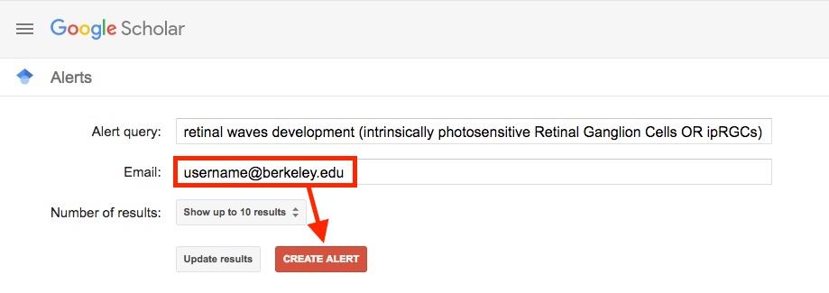 Google Scholar create alert page