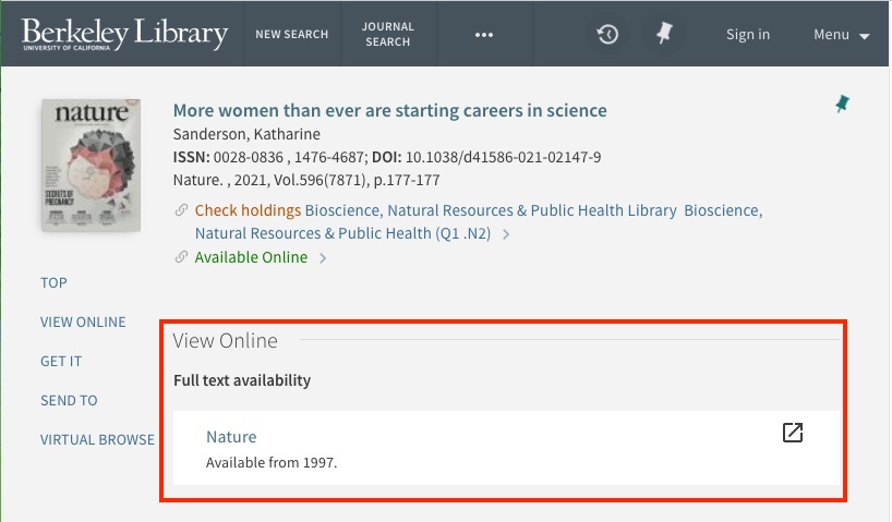 UC Library Search journal article online access link