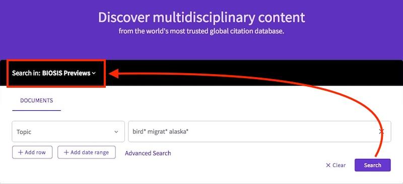 Select BIOSIS Previews in the Search in menu