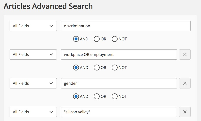 "example of an advanced search using the terms ""discrimination,"" ""workplace OR employment,"" ""gender,"" and ""silicon valley"""