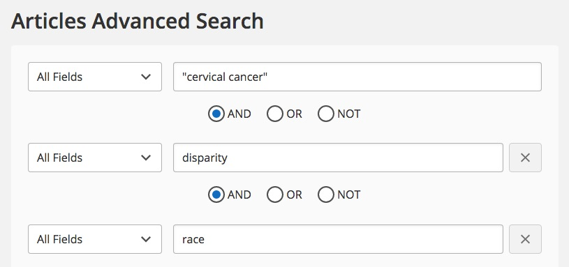 "Image of the U-M Library's articles search interface, with the words ""cervical cancer,"" ""disparity,"" and ""race"" in the search boxes."