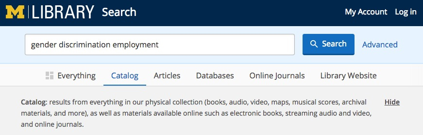 "Image of the U-M Library catalog search with the words ""gender,"" discrimination,"" and ""employment"" in the search box."