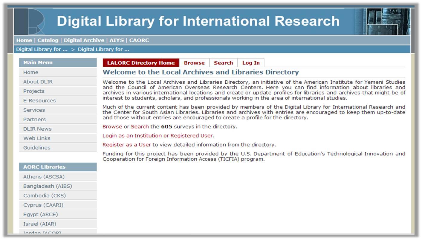 Screenshot of the directory homepage