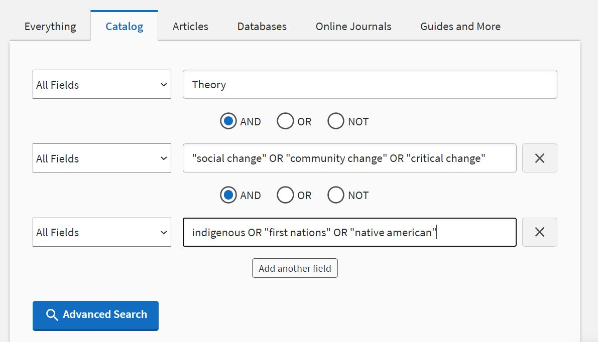Image of advanced search form from U-M Library search