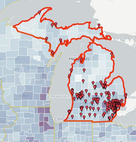 Graphic of Michigan outlined with undefined points illustrating data distribution