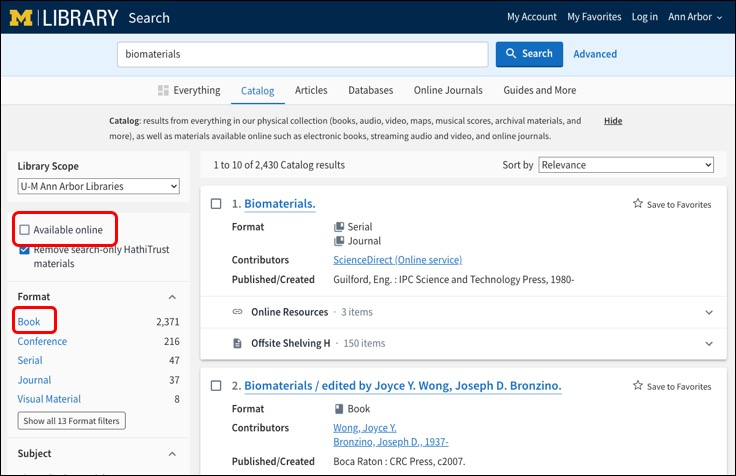 Screenshot of Library Search page with Available Online box circled and Book as a Format circled