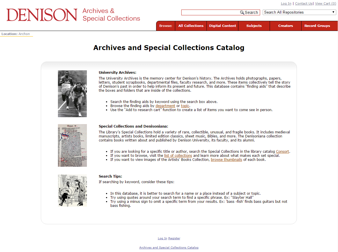 screenshot of archives catalog