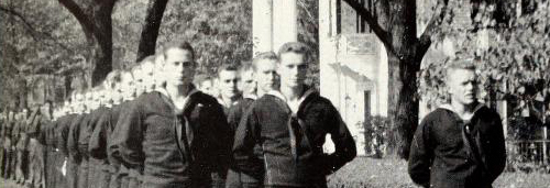 Sailors & marines in front of Beth Eden 1944