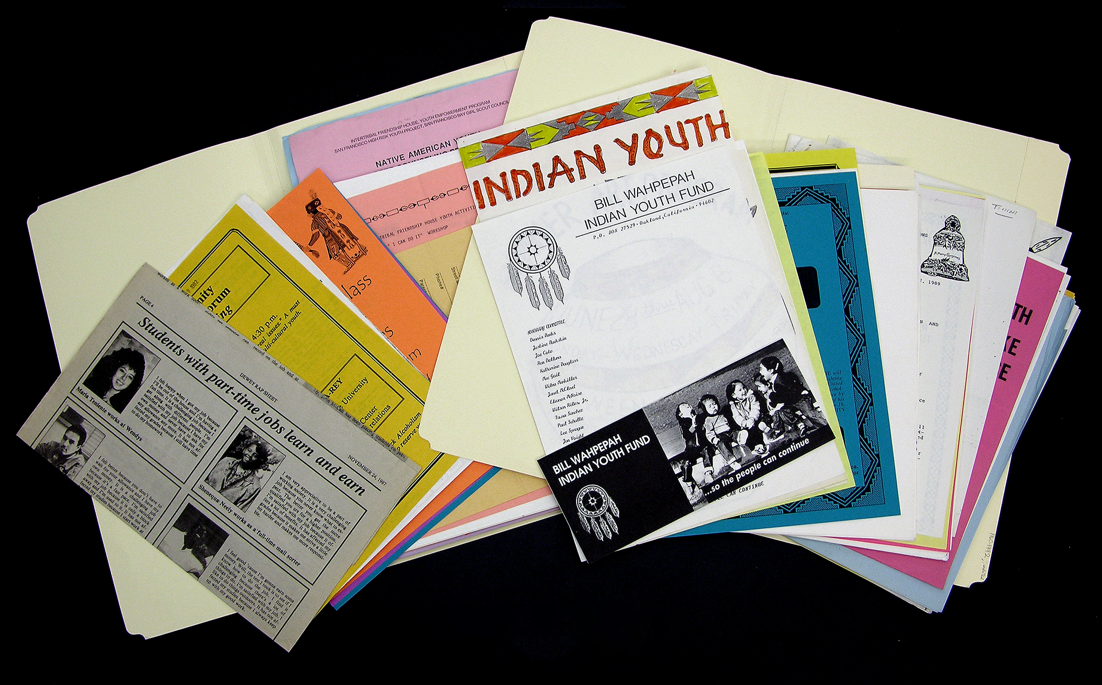 Folders of youth activity fliers