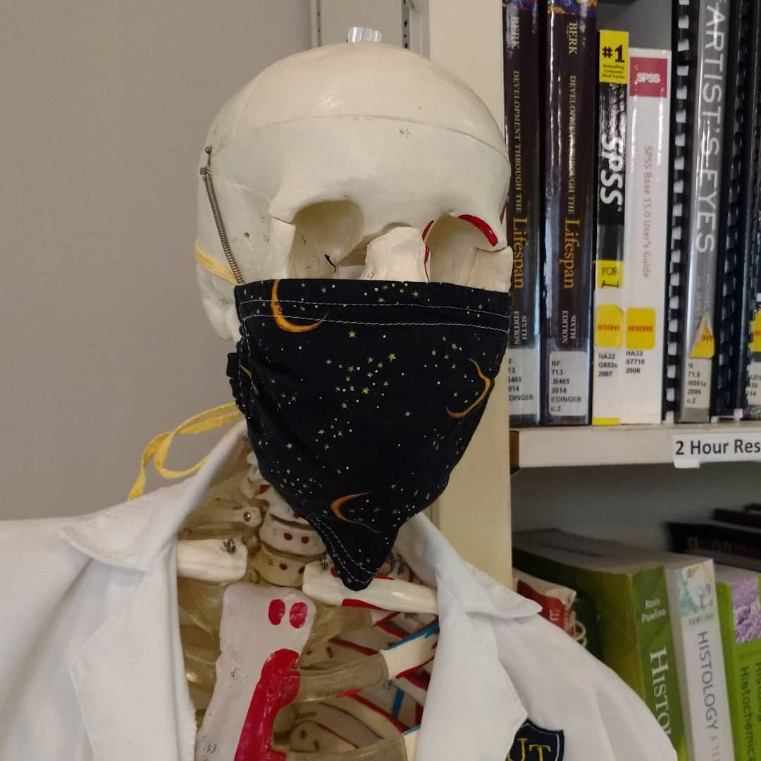 skeleton wearing a mask