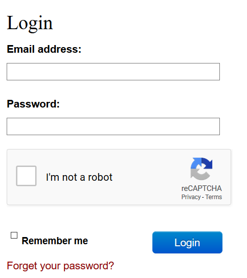 A screenshot of the login section of the page