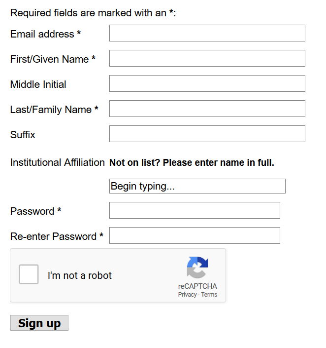 A screenshot of a registration form asking for email address, name, and password