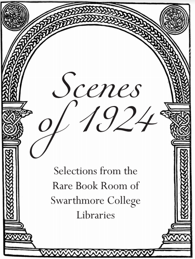 "A coloring page reading ""Scenes of 1924: Selections from the Rare Book Room of Swarthmore College Libraries"""