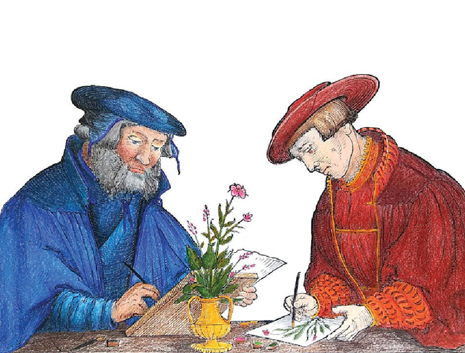 A colored-in illustration of two people drawing a vase of flowers