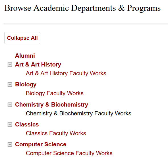 A screenshot of the Browse Academic Departments and Programs page