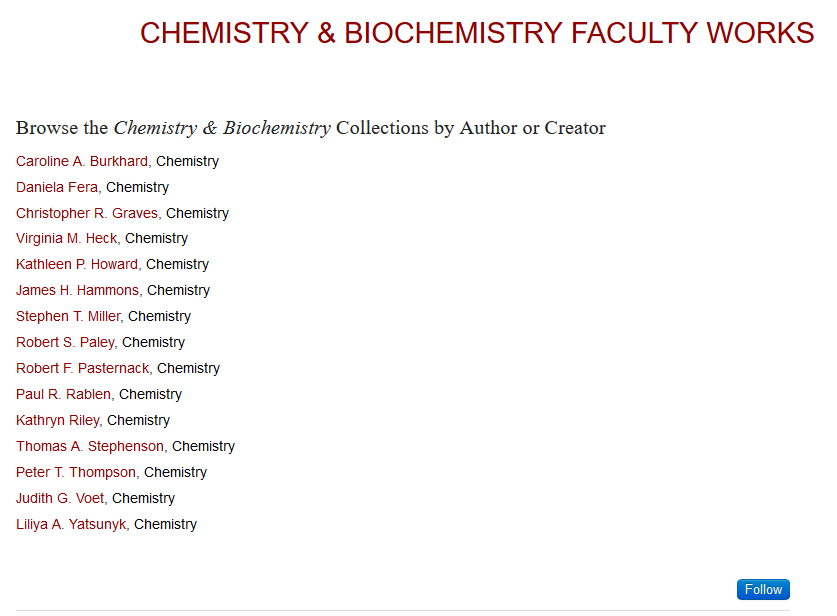 Screenshot of the Chemistry & Biochemistry faculty works homepage