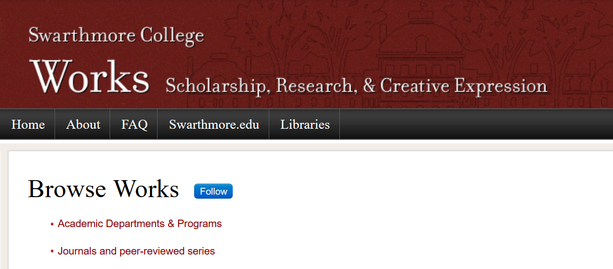 "screenshot of the Works homepage demonstrating the placement of the ""follow"" button"