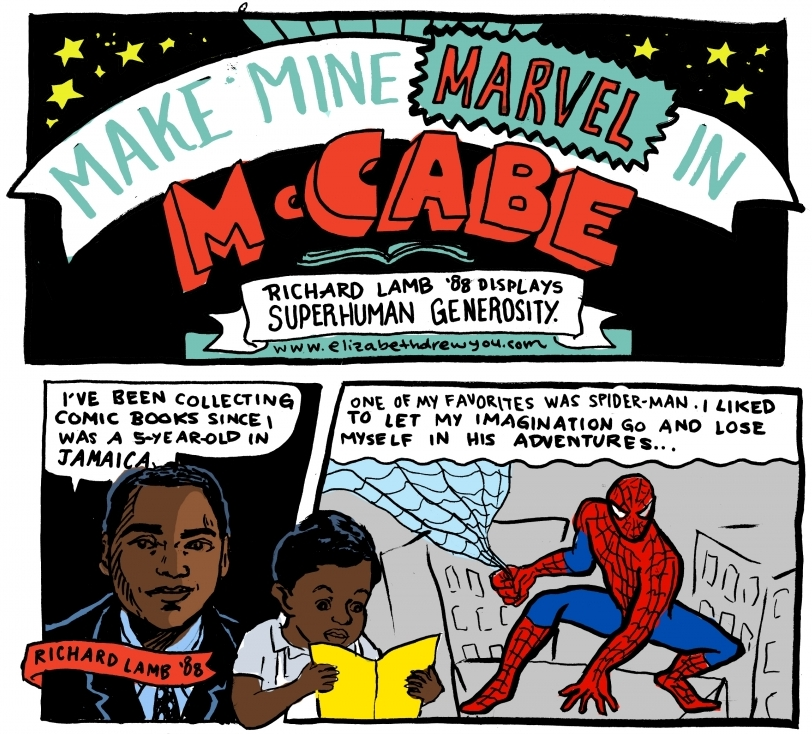 "A snippet of the Alumni Bulletin feature on Richard Lamb '88, titled ""Make Mine Marvel in McCabe"""