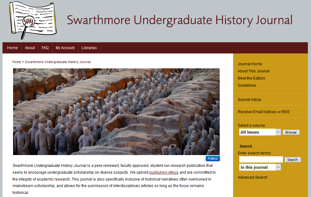 A screenshot of the homepage for the Swarthmore Undergraduate History Journal