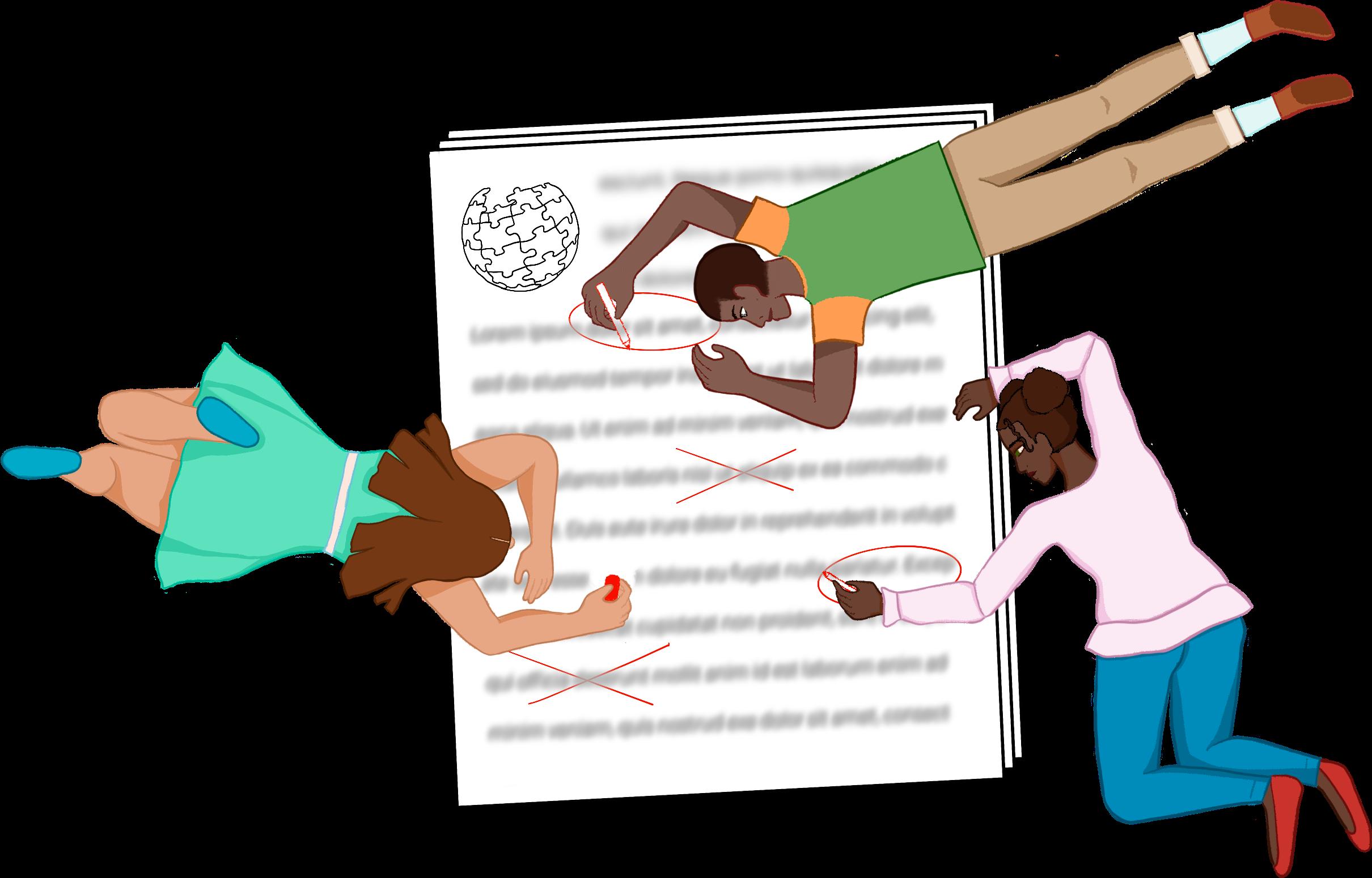 Three people editing wikipedia illustration