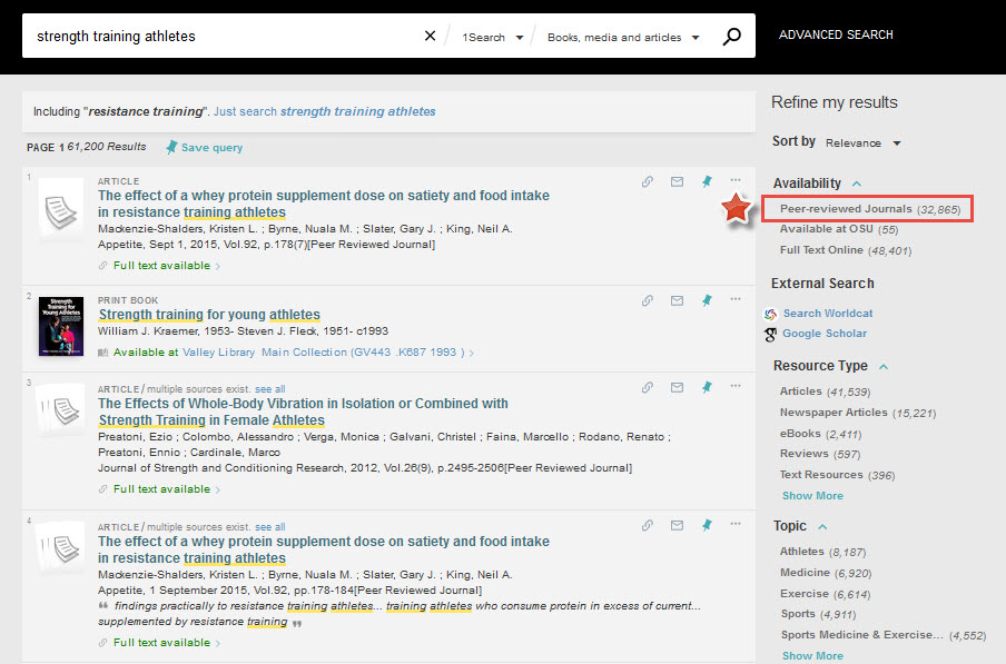Image of 1Search results with peer-review journals facet highlighted