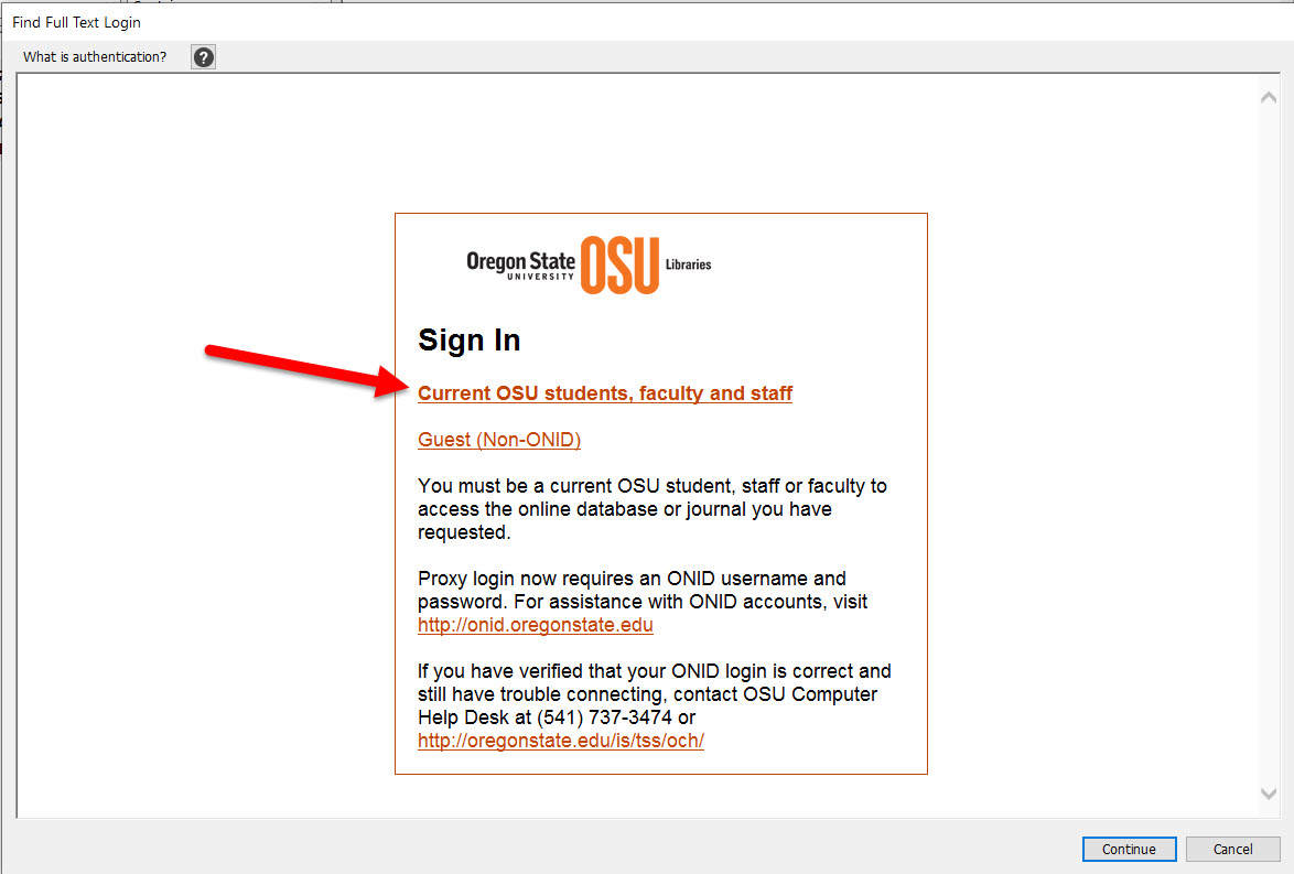 osu sign in window in endnote fulltext