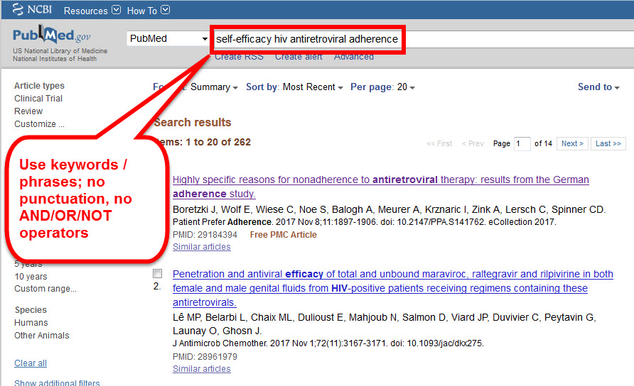 image of pubmed simple search box with search term