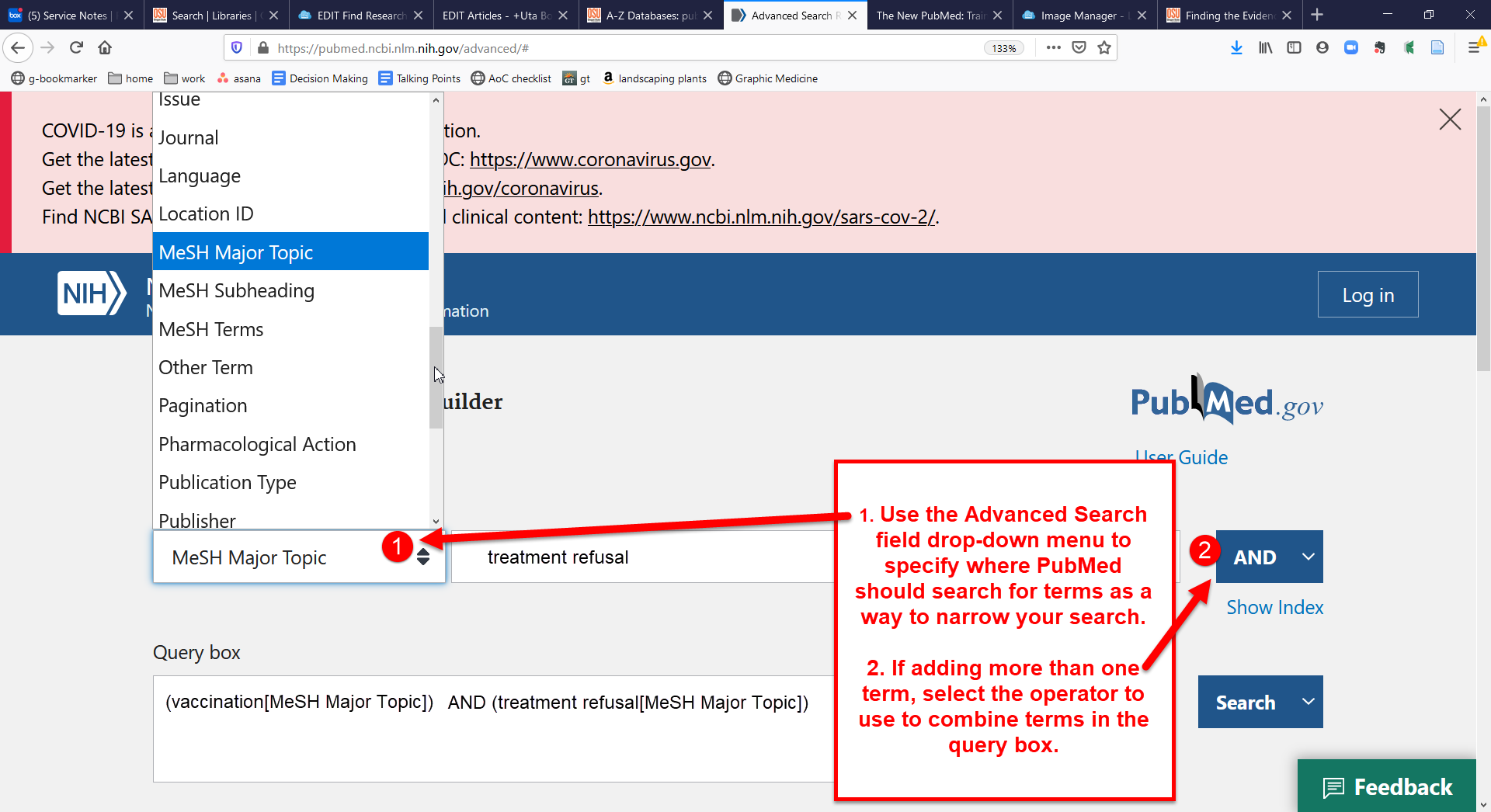 image of pubmed advanced search page search fields