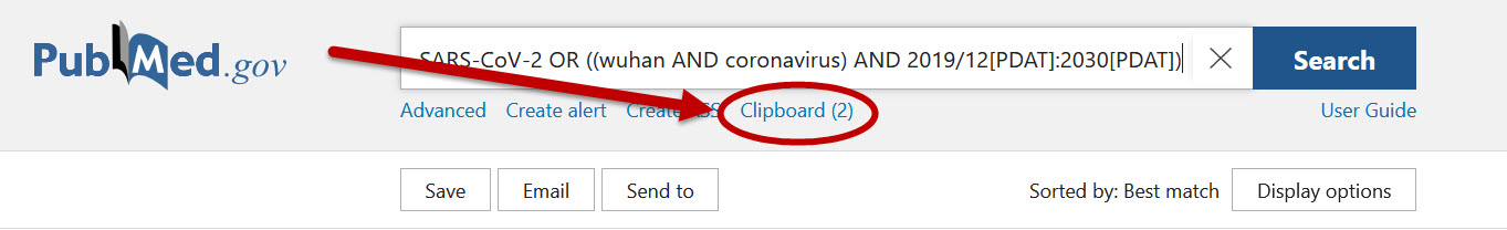 image of clipboard link under pubmed search box