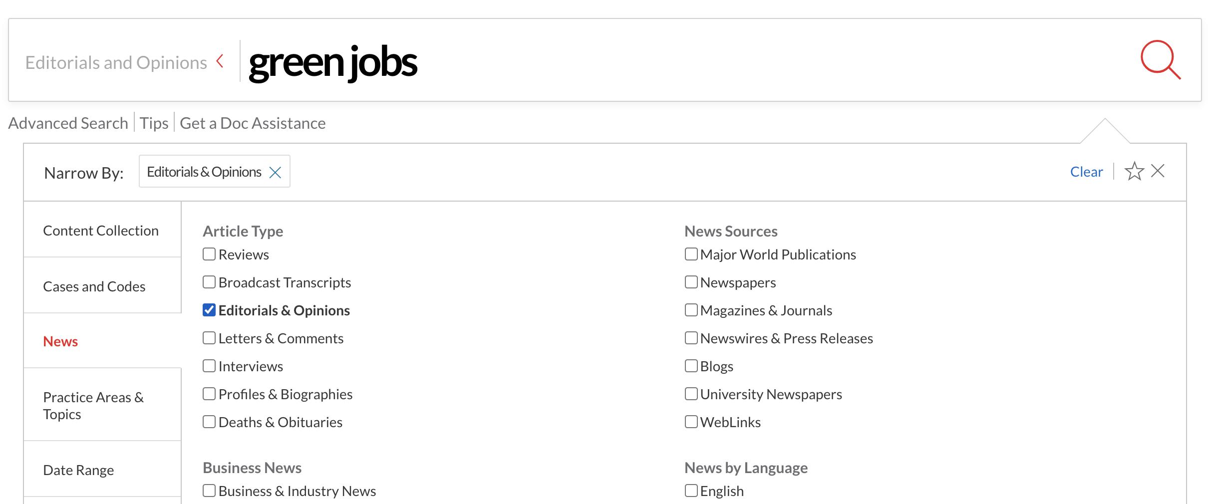 Screenshot of NexisUni Editorials Search Fields