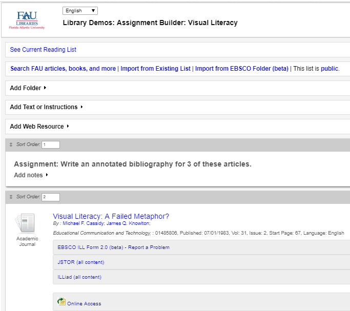Sample Assignment Builder page of folders and working view