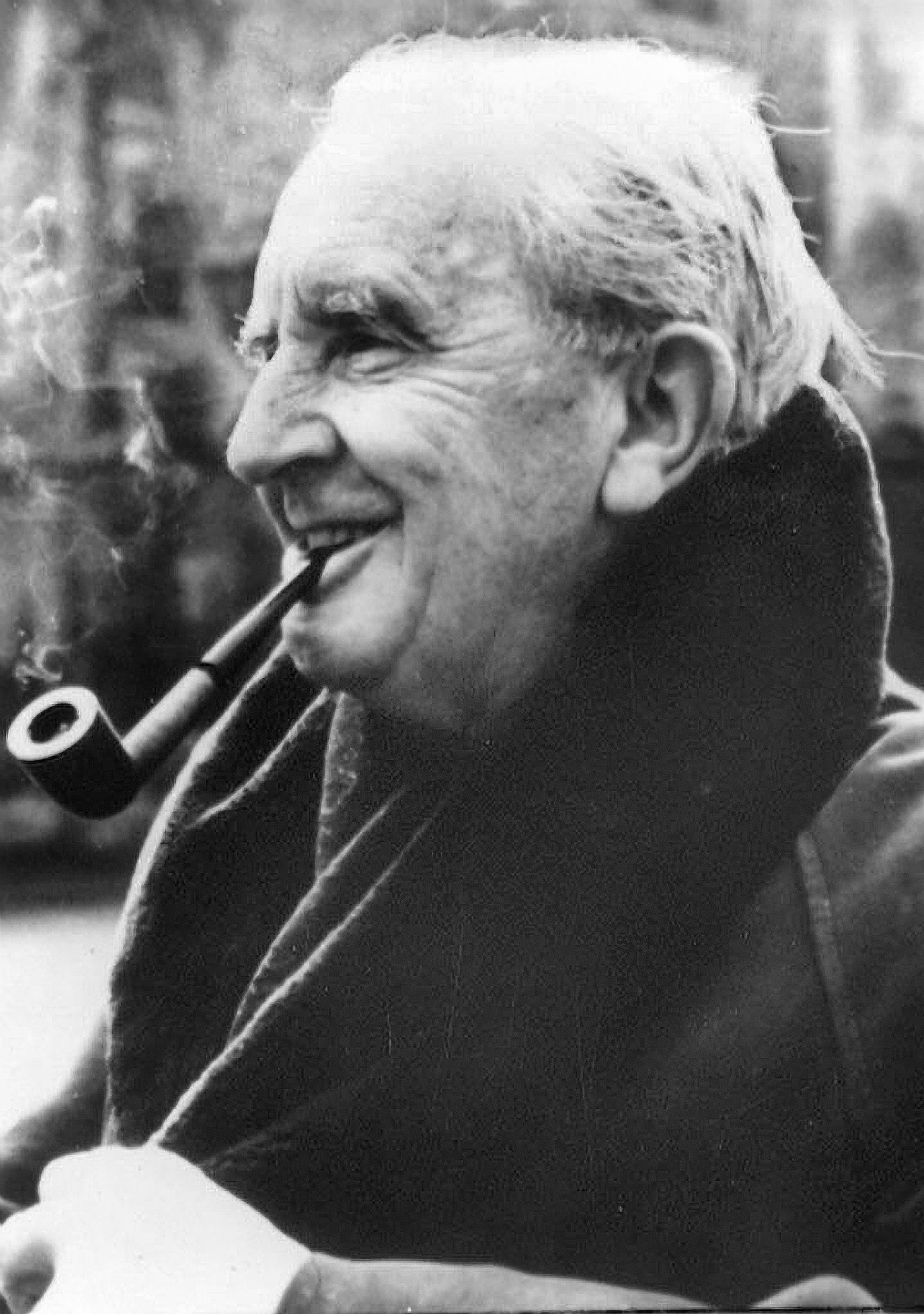 picture of J. R. R. Tolkien smoking a pipe