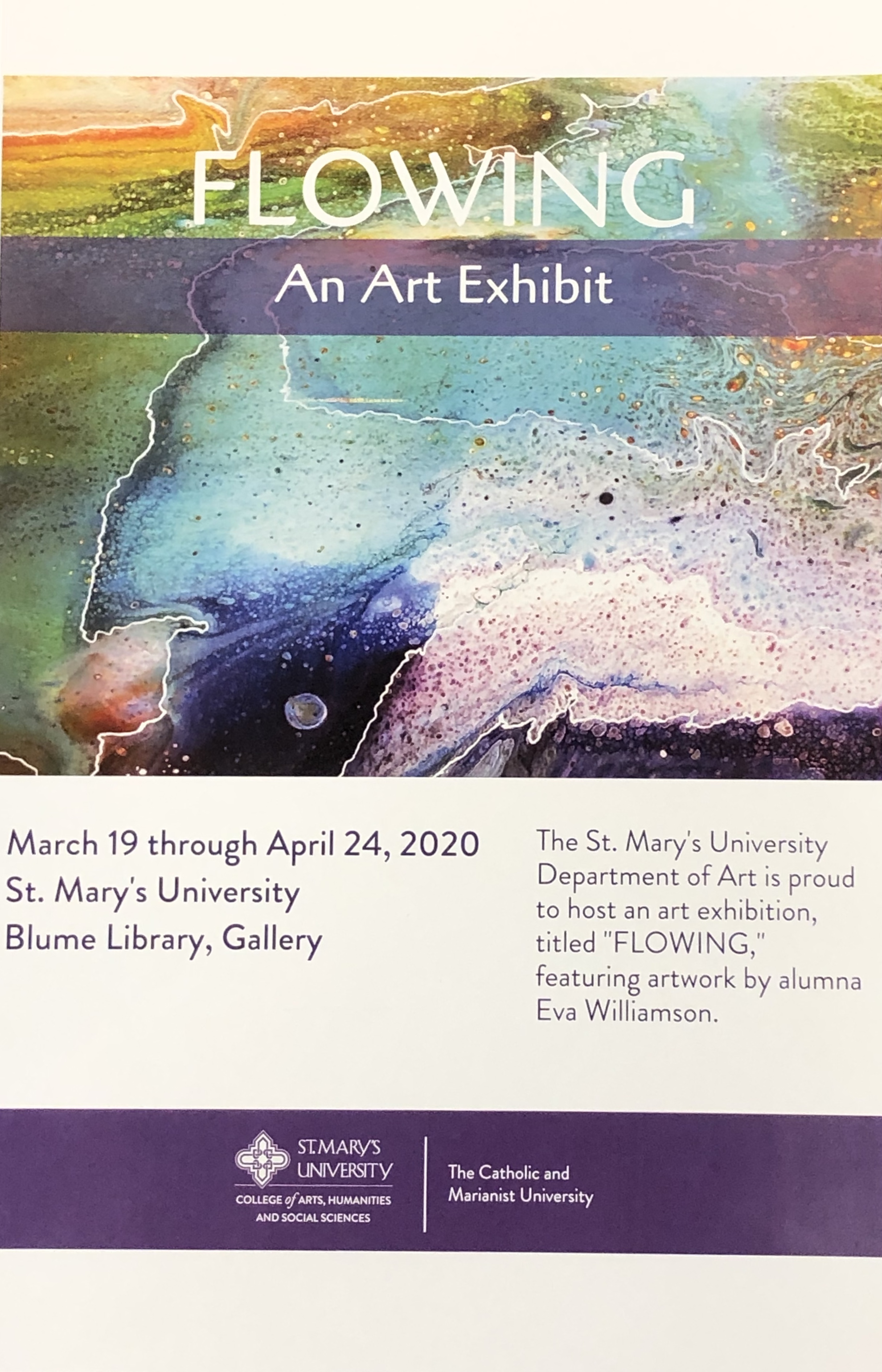 poster from Blume Library art exhibit entitled Flowing