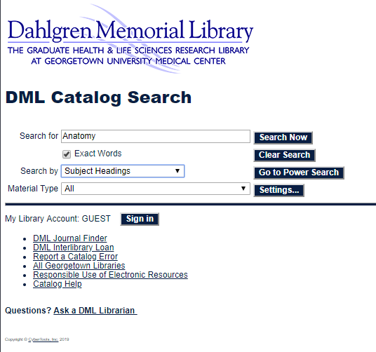 Anatomy subject search in DML Catalog