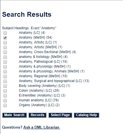 Anatomy subject search results