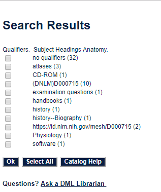 Qualifiers for anatomy subject search in DML Catalog