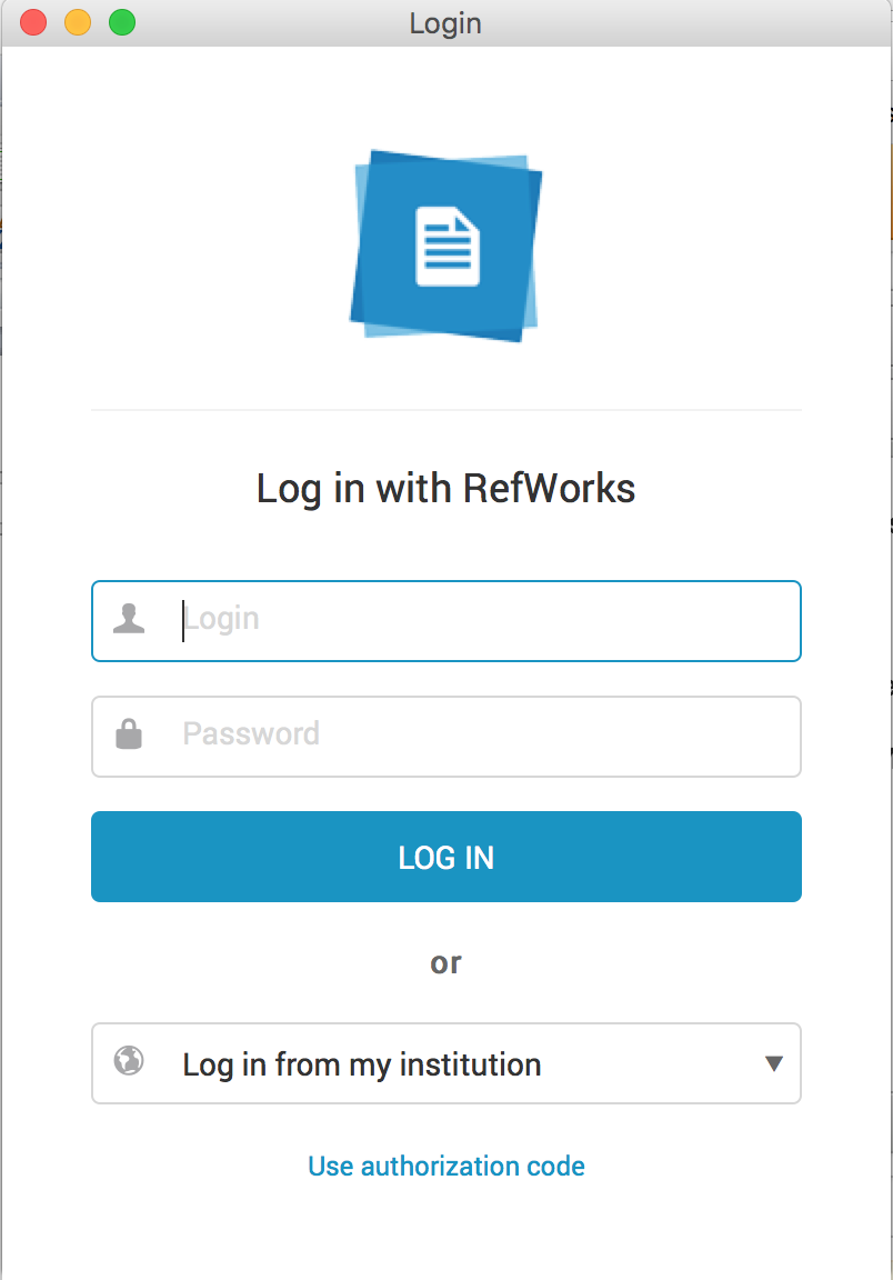 Log in with RefWorks