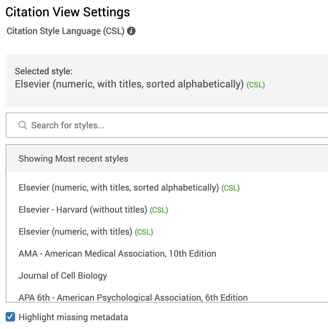 Citation Settings
