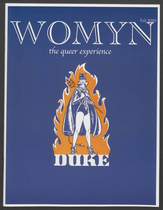 Front cover of the Fall 2010 issue of Womyn: The Queer Experience featuring an illustration of the Lady Blue Devil taken from a 1970s brochure about Duke's women's athletics program.