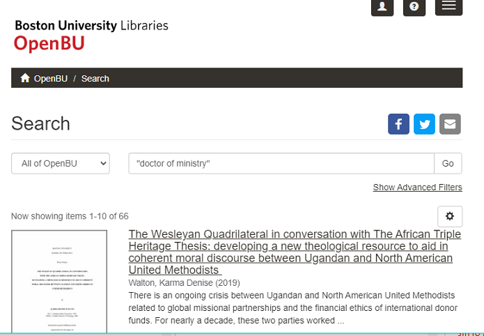 """A screenshot displays the OpenBu website with """"doctor of ministry"""" in the search bar, with results below."""