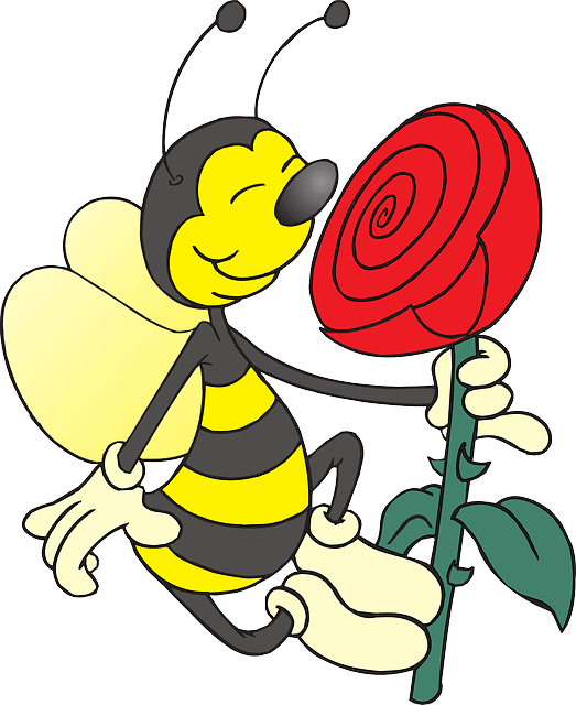 cartoon of a bee smelling a flower