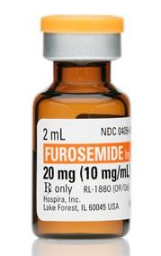Image of an unopened vial of furosemide. Label indicates that the vial contains 2 milliliters of furosemide. The vial contains a total of 20 milligrams. The strength of the medication is 10 milligrams per milliliter.