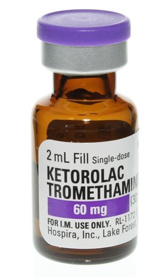 Image of an unopened vial of ketorolac tromethamine. The label says it is a 2 milliliter single-dose vial that contains 60 milligrams.