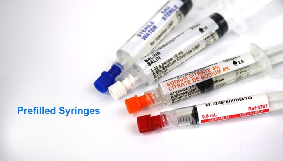 Image of four examples of pre-filled syringes.