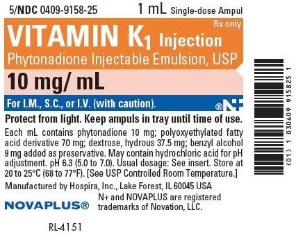 "Image is of a label from an ampule of Vitamin K. The label includes the following information: ""1 milliliter single-dose ampule"", ""Vitamin K one injection"", ""prescription only"", ""phytonadione injectable emulsion, U.S.P."", 10 milligrams per milliliter, ""For I.M., S.C., or I.V. (with caution)"", ""Protect from light. Keep ampules in tray until time of use."", details about the formulation of the medication, and manufactured by Novaplus."