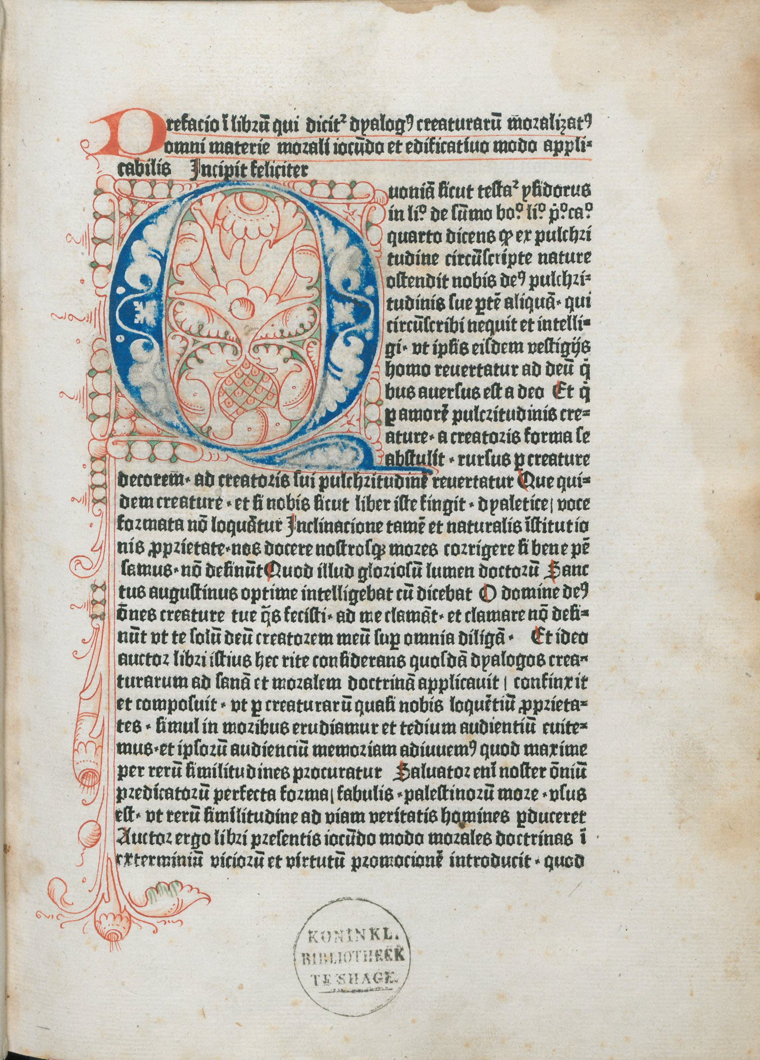 Illuminated letter by Dialogus Creaturarum 1480