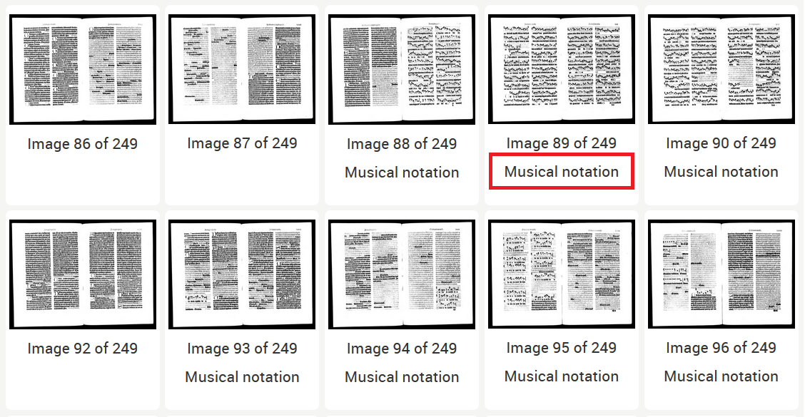 Thumbnails document view with Musical Notations
