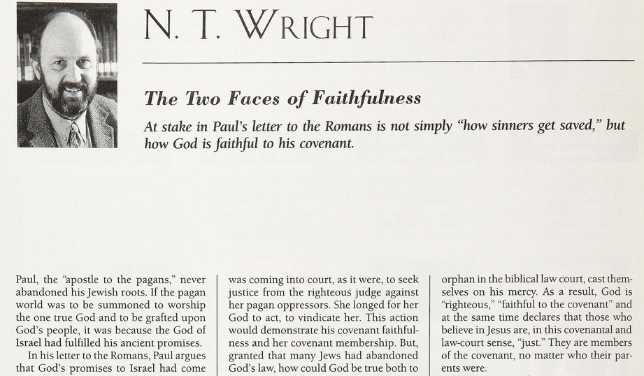 extract from: 'The Two Faces of Faithfulness' by Wright, N T. in BR; Washington 13.5 (Oct 1997): 16, 47